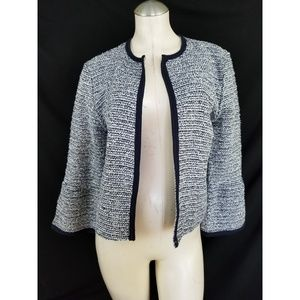 Ann Taylor LOFT Size M Blue Off White Cardigan